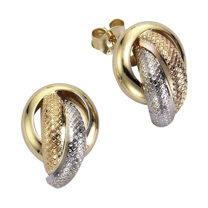 Gold - 241320002 - Boucles Doreilles Créoles Femme - Or Tricolore (9 Carats) 2.00 Gr ODHDC