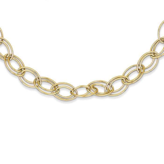 14 carats chaîne lien ovale réglable de 16 - anneau à ressort