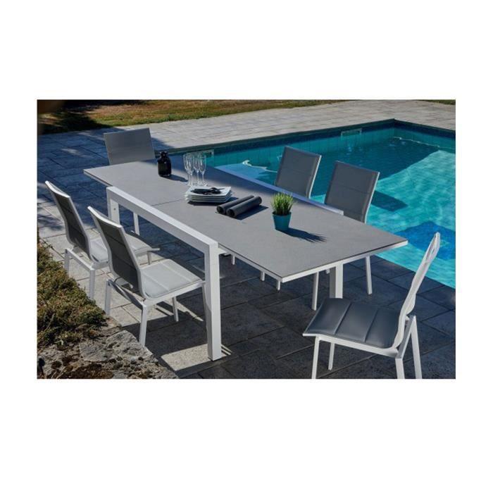 Salon de jardin avec table extensible Gris et Blanc 146-266 x 100 x 75 cm