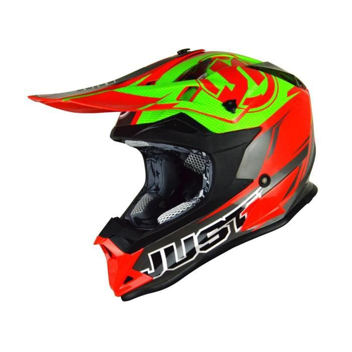 CASQUE MOTO SCOOTER Casque Cross Just1 J32 Pro Rave Rouge/Lime Taille