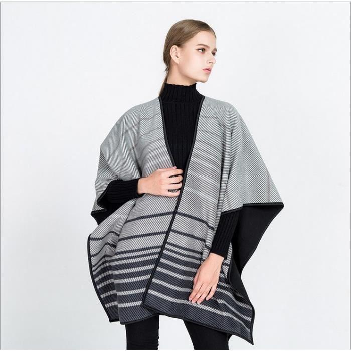 1PCS Femme Poncho Manteau veste Cape manteau écharpe-GRIS - Achat ... adf3b7c6b4c