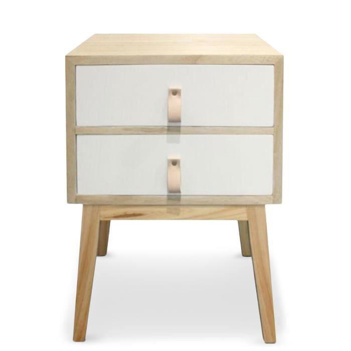 table de chevet 2 tiroirs style scandinave fjord blanc. Black Bedroom Furniture Sets. Home Design Ideas