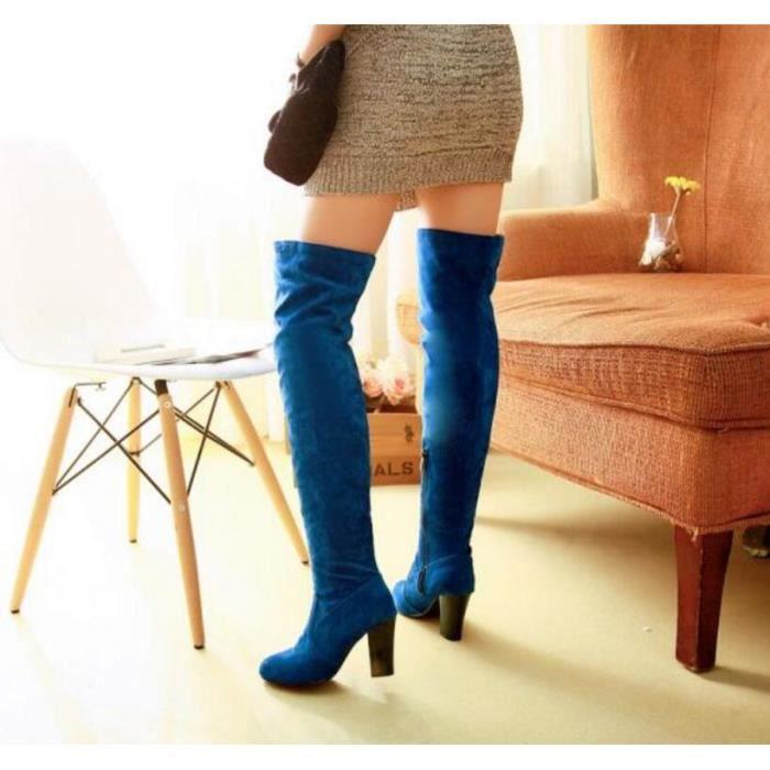 mode couleur pure paisse talon des femmes sur le genou boot avec fermeture glissi re lat rale