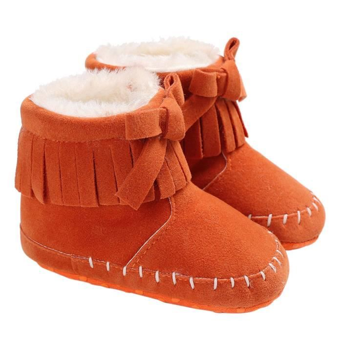 bébé fille douce bottes de neige Bottes Infant Toddler nouveau-né Chaussures de réchauffement orange TniHvfnCH