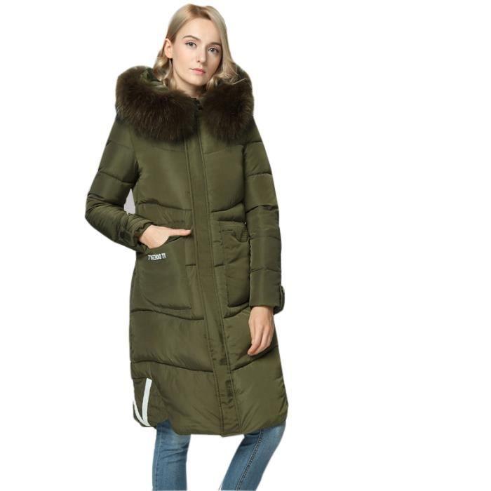 Taille Femmes Grande Encapuchonné rouge Collier Mode Manteau noir Mince Long rose De Longue Fourrure Manche Vert dq4xtd