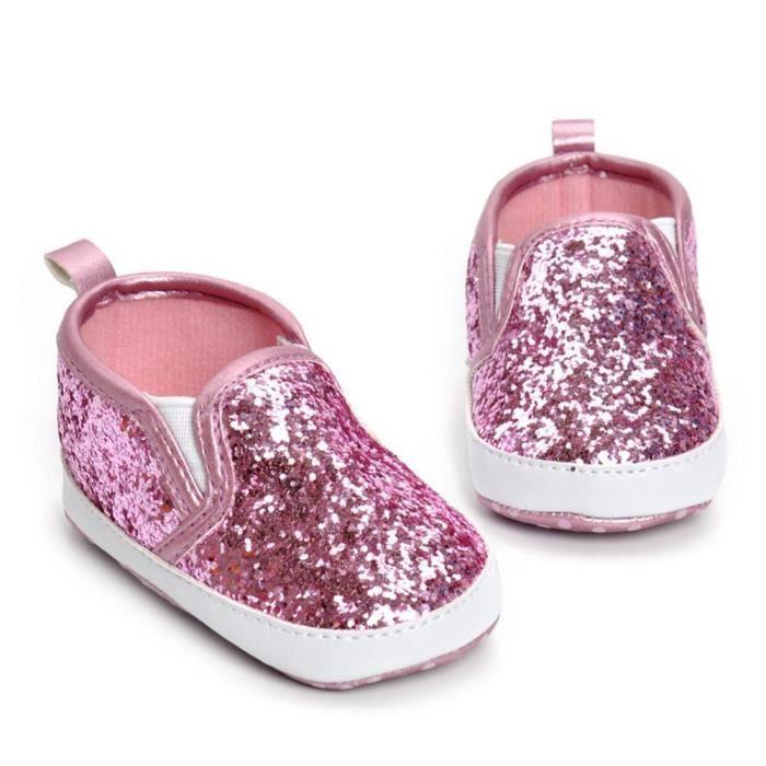 Frankmall®Filles garçons crèche chaussures Soft semelle anti-dérapant chaussures de sequins ROSE#WQQ0926029