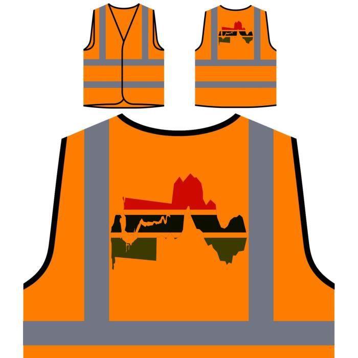 À Visibilité Orange De Haute Protection Personnalisée V gambie Art Veste Map World YxqFOIww