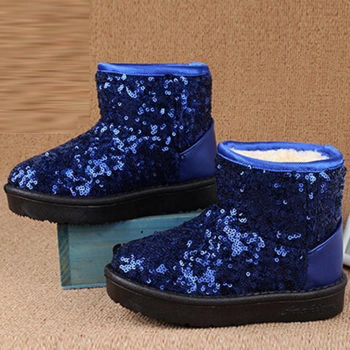 282ad8f6df136 Infant Toddler Bébé Filles Paillettes Bottes Garçons Enfants Hiver Épais Neige  Bottes Chaussures Bleu2LAO-024