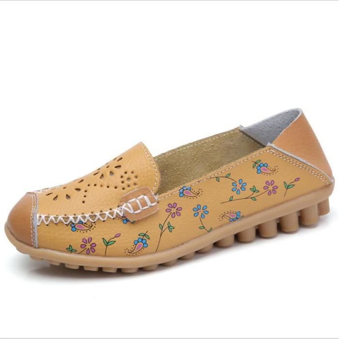 Mocassin plat Chaussure Femmes Talon XZ046Jaune36 BLKG Cuir Classique rtprg