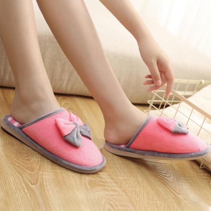 Doux slip Pantoufles Accueil Tie Anti rose Chaussures Benjanies Vif Hiver Indoor Femmes Chaudes Bow qnZxU8wY