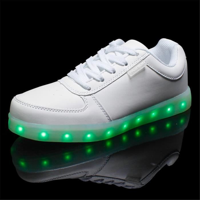 7 couleurs Chaussure PU sneaker LED lumineuse adulte pour unisexe femme homme