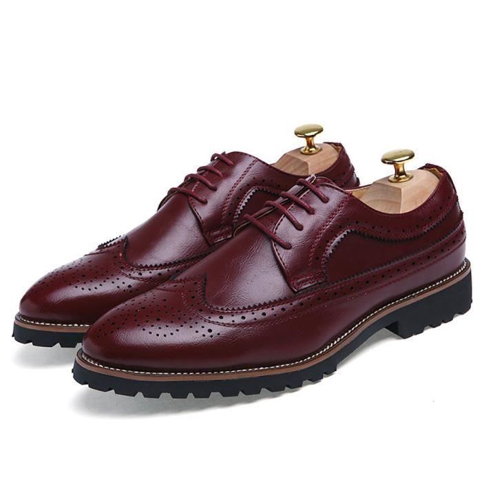 Brogue Robe Chaussures lacent Oxfords en cuir de vache véritable chaussures de travail d'affaires D2KPO Taille-42 1-2