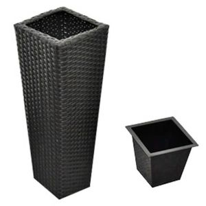 JARDINIÈRE - BAC A FLEUR R38 3 cache-pots en resine tressee et 3 bacs inter
