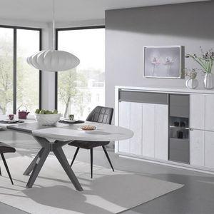 Meubles de salle a manger blanc et gris - Achat / Vente pas cher