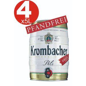 BIÈRE 4x Krombacher fût de 5 litres de 4,8% vol