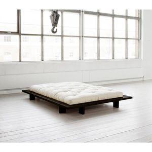 FUTON Structure futon japan en bois noir 140x200 - Terre
