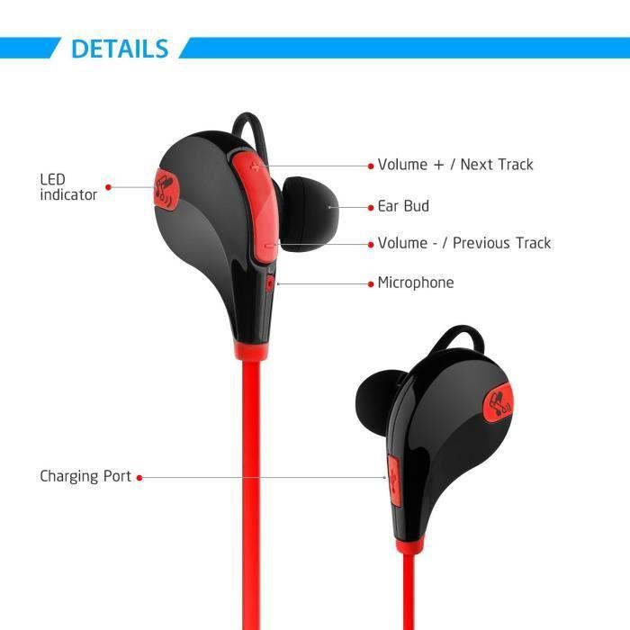 Alpexe® Casque Sans Fil Stéréo, Oreillette Bluetooth Sport,écouteurs Avec Le Micro Intégré, Anti-sueur, Suppression Du