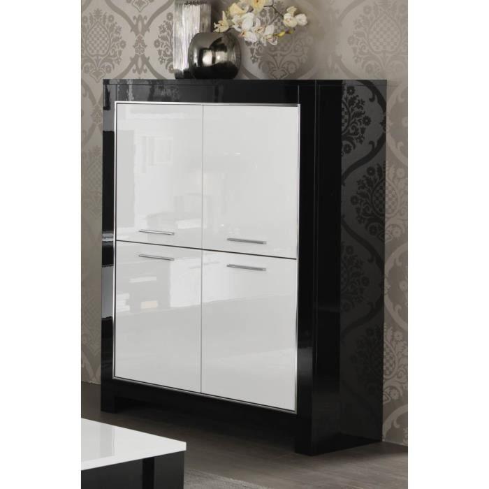 meuble bar design modena 4 portes de coloris noir et blanc laqu - Meuble Bar Design