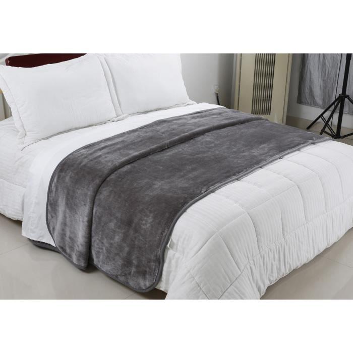 Plaid,couvre lit , couverture grises en fausse