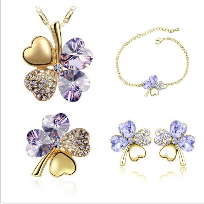 FMAILY® Bijoux en cristal trèfle Collier + boucles doreilles + bracelet + Broche (or + violet clair)