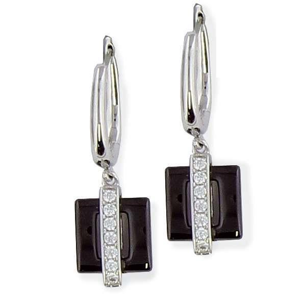 SF Bijoux - Boucles doreilles argent 925/1000e OZ céramique noire (4,34 g) - (101619)