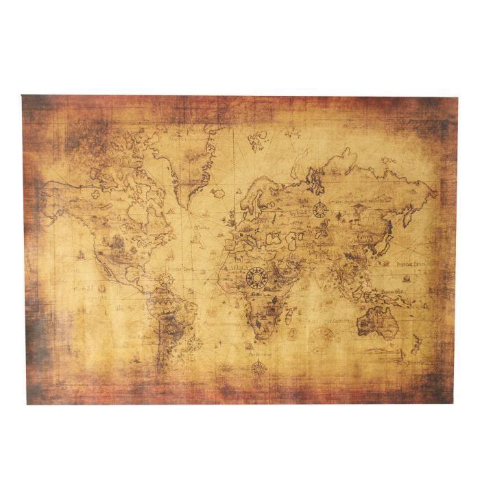 70x50cm Rtro Poster Affiche Planisphre Carte Du Monde Papier Kraft Cadeau