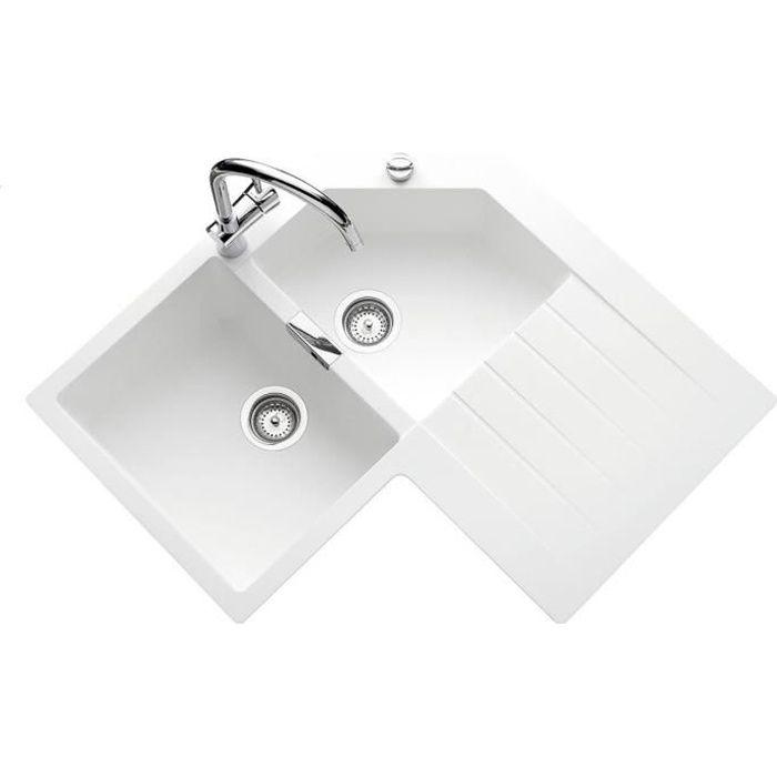 Évier d?angle granit blanc lokti 2 bacs 1 égou - achat / vente