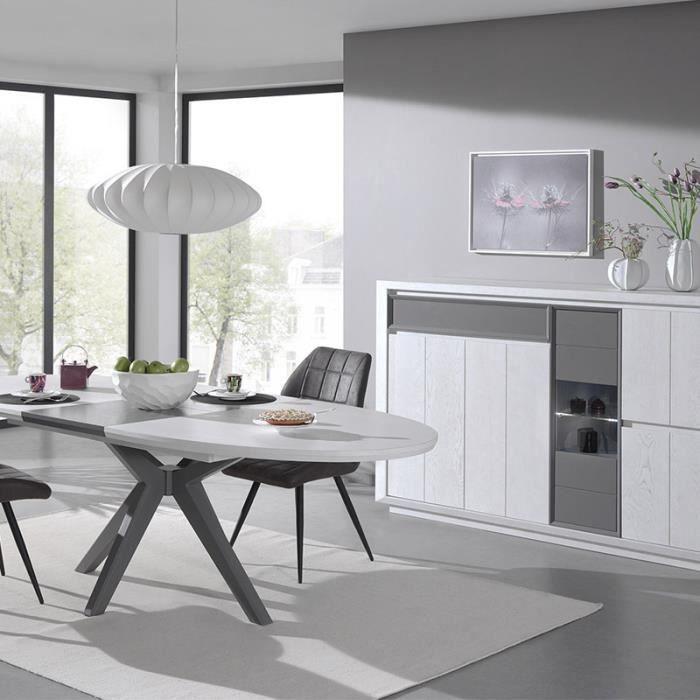 Salle manger moderne couleur bois blanc et gris artic - Couleur pour salon et salle a manger ...
