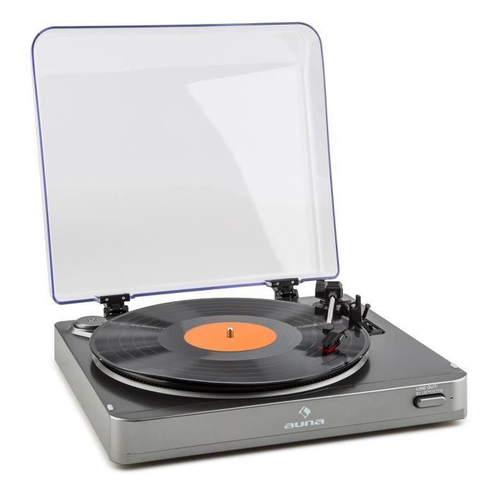 Auna Tt-10 Bt Platine Tourne-disque Avec Émetteur Bluetooth , 3 Vitesses De Lecture & Sortie Line - Argent
