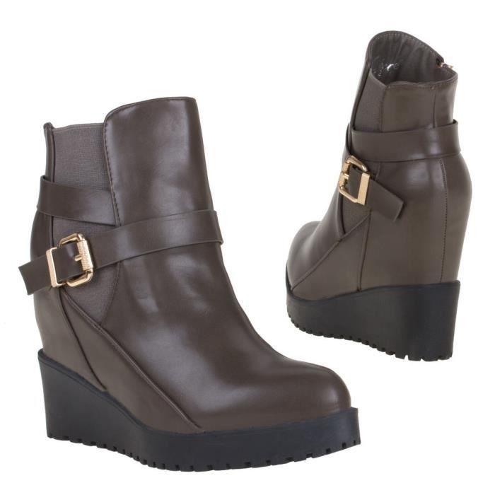 style bottines boots bottillon marron femme 37 compensées p qpEqrv5O