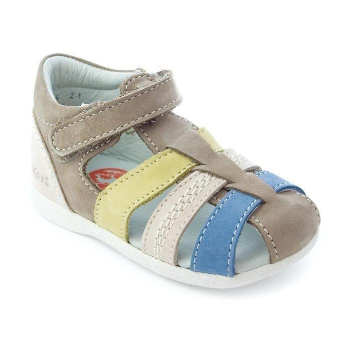 52d7f49bb9668 Kickers Babysun gris vert bleu Gris - Achat   Vente sandale - nu ...