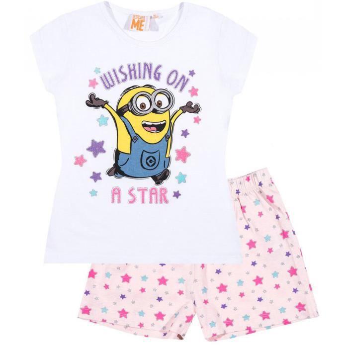 1f061a46a6191 Pyjama court enfant fille Les Minions Blanc/rose de 6 à 12ans - Blanc/rose, 8  ans