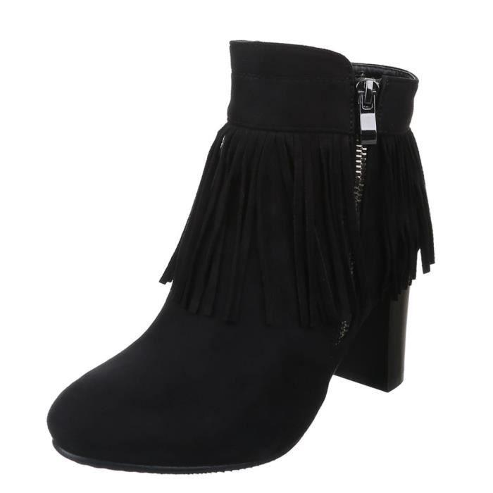 Femme chaussures bottillon bottes avec s'effranger noir 40