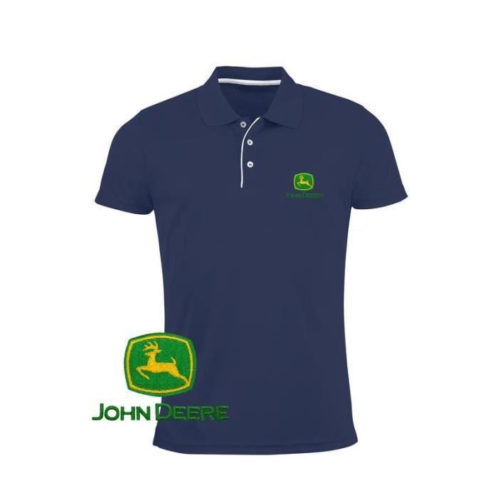 3bb2aaf29e John Deere Homme Polo Shirt Logo Brodé | Bleu Marine | Ajusté T Shirt Tee  Slim Fit Manches Courte Tracteur Auto Voiture Сadeau Père