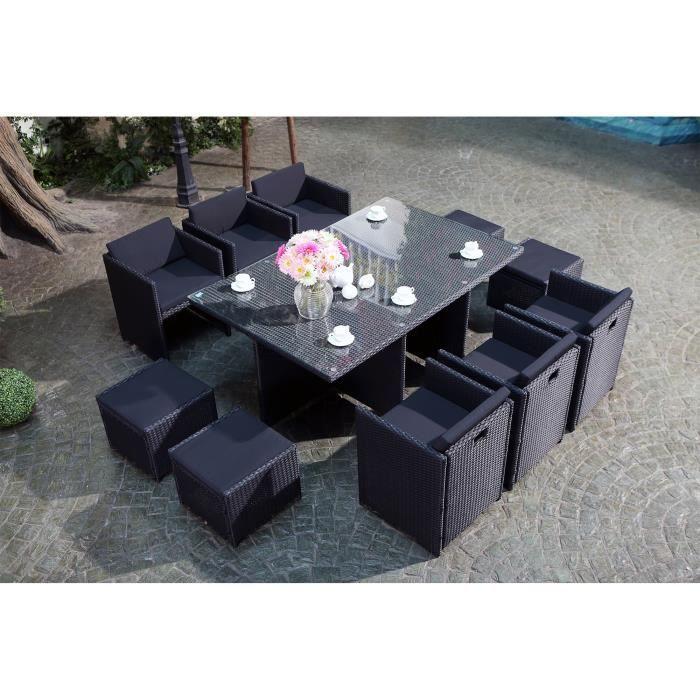 Vito Salon jardin noir encastrable 12 personnes - Achat / Vente ...