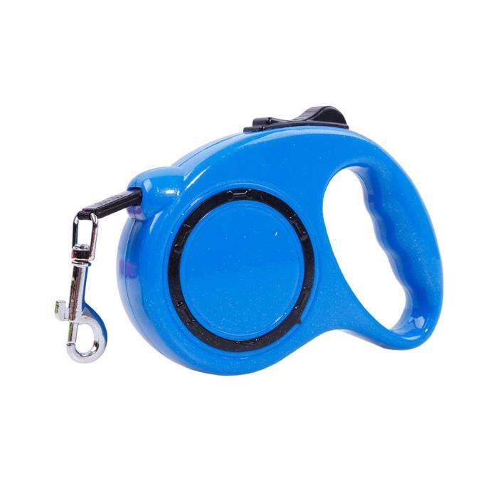 Laisse De Chien Rétractable Portable Durable Marche Corde Réfléchissant Cordon En Nylon Extensible Bouton Bleu 5m Leash