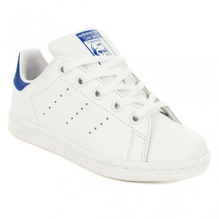Chaussure Adidas - Stan Smith Enfant   Basket à Lacet - Blanc et Bleu litm8 ...