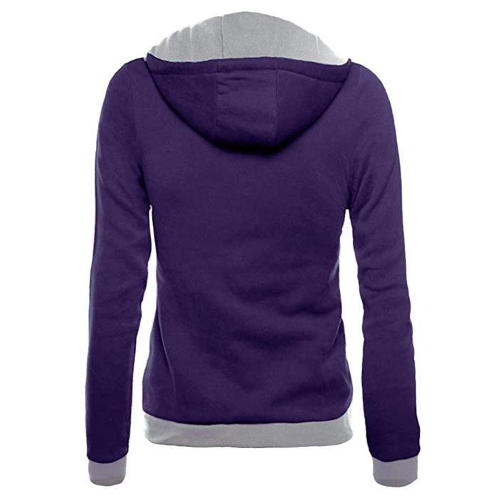 À Manteau Zipper Sweat Slim Fit Oblique Femmes Veste Sfw81113316pp Chemisier Hoodie Violet Longues Manches Pqv1YPw5y