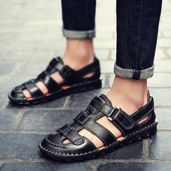 Sandales Plates Hommes Loisirs Style De Étudiants Antidérapants marron Noir Coréens Chaussures rIYqwr0