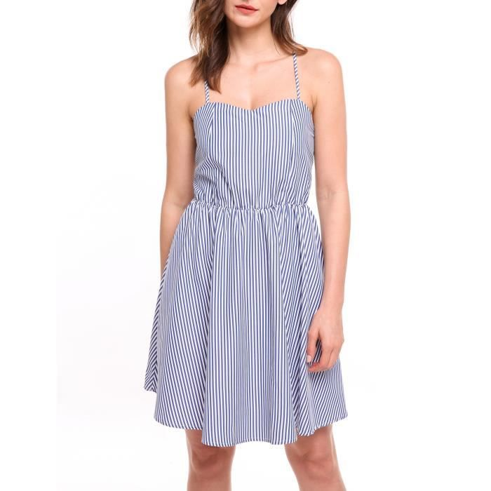 robe Strap Backless femme mini sans manches xwqY6OC5