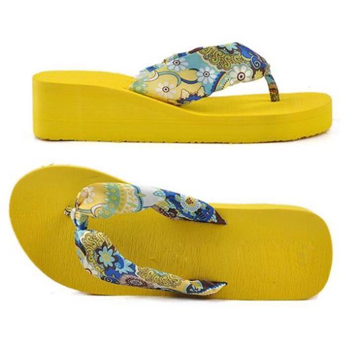 un Tong en satin a talon epais avec des fleurs bohemiennes pantoufles Wedges chaussures de plage a talon epais pour ete Qpmip25g