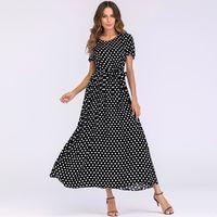 CRAVATE - NŒUD PAPILLON Mode Femmes Long Polka Dot Dress manches courtes t