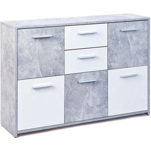 COMMODE DE CHAMBRE Commode 2 tiroirs - 5 portes - Gris béton et blanc