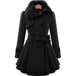MANTEAU - CABAN Noir Marin Manteau Laine Femme Longue avec col en 0cf9bd16beed