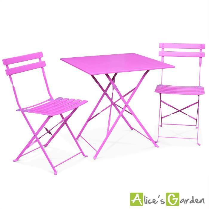 Emilia, Table style bistrot 2 places rose - Achat / Vente ...