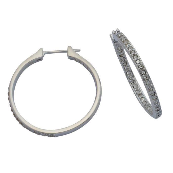 Boucles doreilles en argent ronde en cristal Hoop femmes OT09F