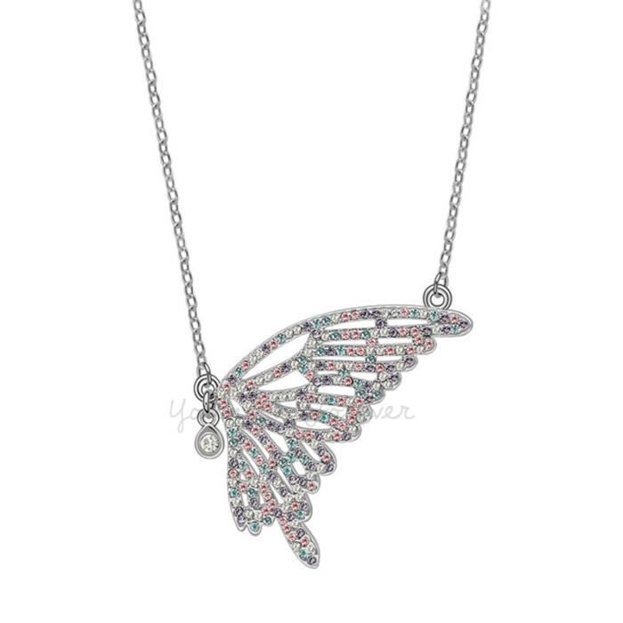 Womens Valentine Gifts Special Timeless Treasure butterfly Fairy Crystals From Swarovski Pendant Q9VH7