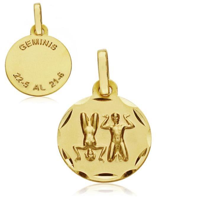 Médaille pendentif 18k horoscope or Gémeaux 13mm. signe du zodiaque [AA7401]