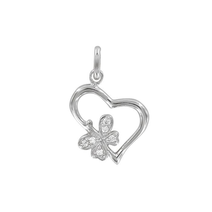 Jouailla - Pendentif coeur et fleur en argent 925/1000e