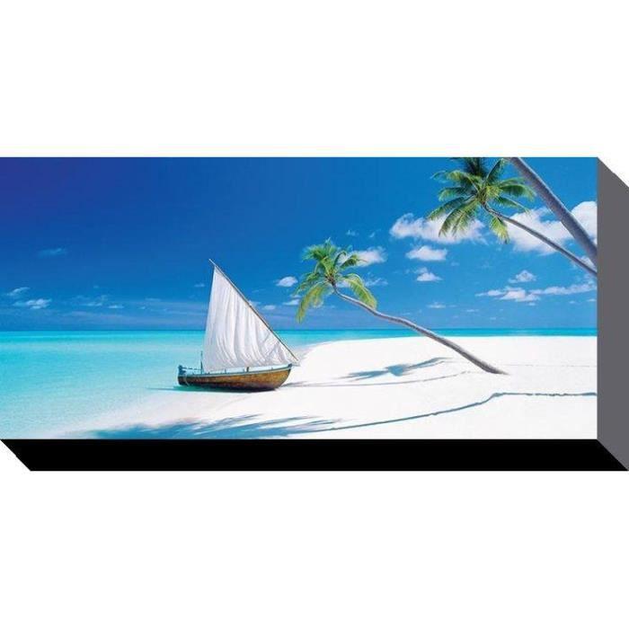 Toile imprim e d 39 une plage paradisiaque 50 x 100cm for Toile de plage ikea